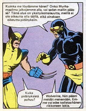 "Ryhmä-X 1/1985 Cyclops talking ""puuppa"""