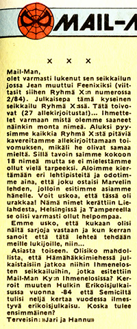 An amazing reader mail from Ryhmä-X 4/1985.