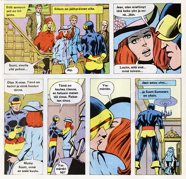 Ryhmä-X 6/1985 Jean leaving Scott behind like a discarded glove.