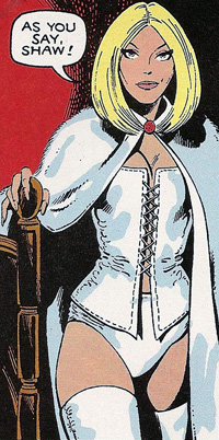 Emma Frost wearing lot of clothes.