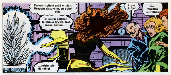 Ryhmä-X 7/1985 Jean as Dark Phoenix threatens her family