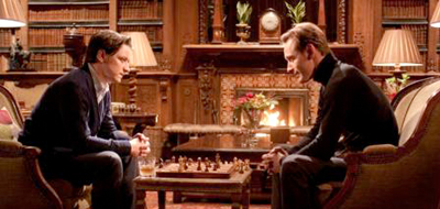 Xavier (James McAvoy) and Magneto (Michael Fassbender) playing chess in X-Men: First Class (2011)