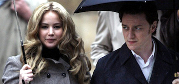 Xavier (James McAvoy) and Mystique (Jennifer Lawrence) from X-Men: First Class (2011)