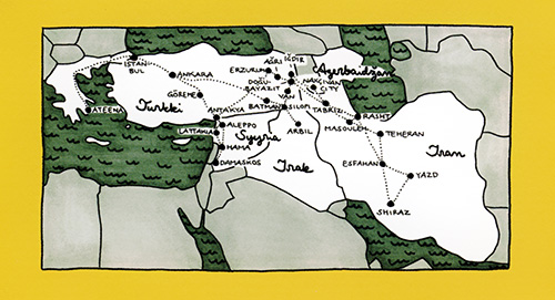 Taksi Kurdishtaniin: Map from backcover