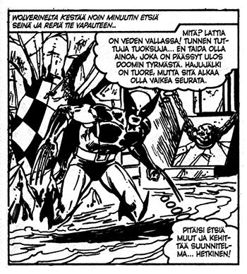 Ihmesarja 8 Wolverine through a wall
